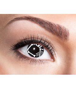 Sorte kontaktlinser med skelet til Halloween udklædningen.