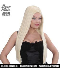 Blond langhåret paryk til hekse kostumet.