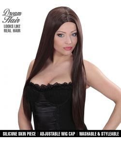 Langhåret brun paryk til hekse kostume.