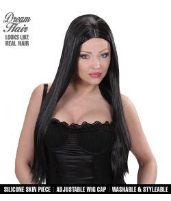 Flot sort langhåret paryk til hekse kostume.