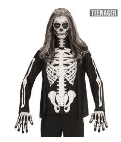 Sort bluse med knogle tryk til halloween til teenager.
