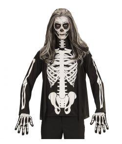 Sort bluse med knogle tryk til halloween til voksne.