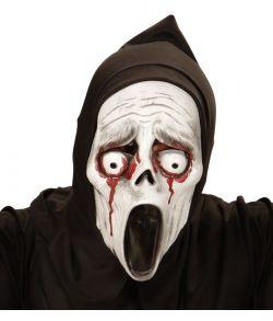 Uhyggelig halloween maske med blødende øjne.