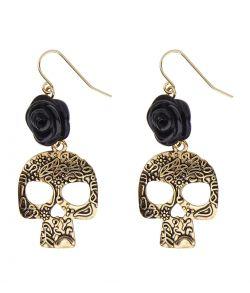 Øreringe med kranie og sort rose til De dødes dag udklædning.
