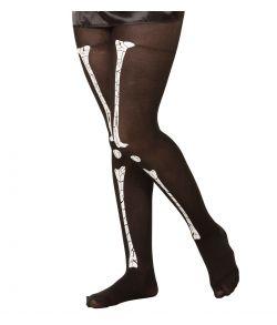 Sorte nylon strømpebukser med knogletryk til børn.