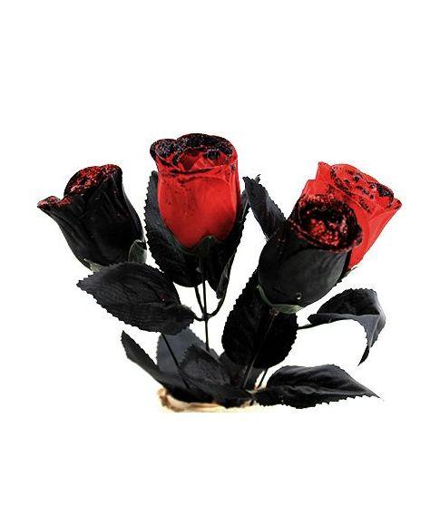 Sorte og Røde Roser, 4 stk.