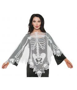 Hvid blonde poncho med skelet og kranie motiv.