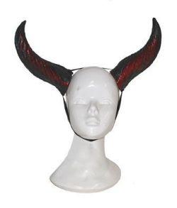 Store djælvehorn i latex til halloween udklædningen.