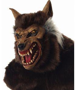 Uhyggelig varulv helmaske med pels på baghovedet til halloween