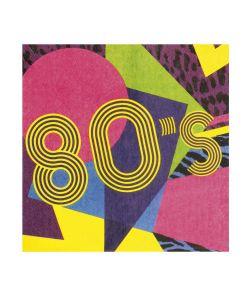 Farverige servietter til 80er discofesten.