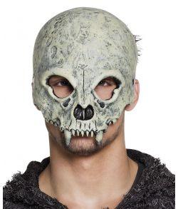 Uhyggelig kraniemaske i skum med hugtænder til halloween.