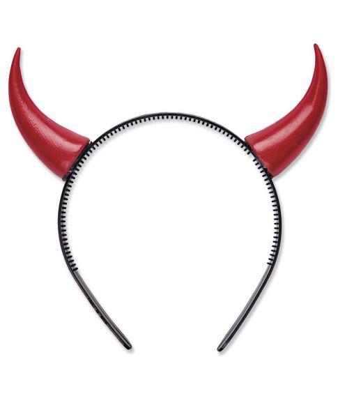 Køb billige røde horn på hårbøjle til halloween udklædningen.