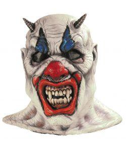 Uhyggelig klovnemaske med horn.