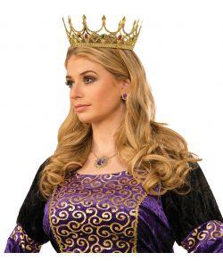 Guldfarvet Dronning krone i plastik med sten.