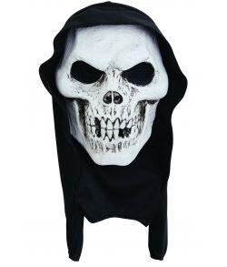 Skeletmaske med hætte til halloween.