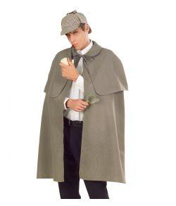 Grå kappe med krave til Sherlock Holmes udklædningen.
