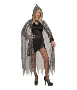 Sort kappe med sølv spindelvæv og hætte.