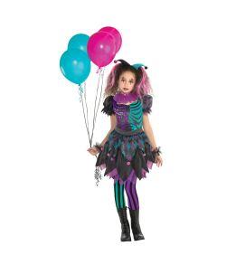 Haunted Harlequin kostume til piger til halloween.