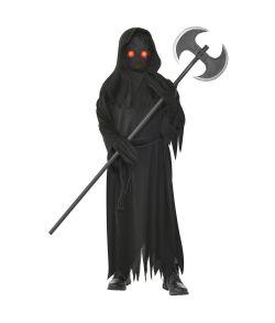 Uhyggeligt halloween kostume med lysende øjne.