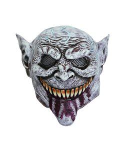 Uhyggelig gråhvid Goblin latexmaske med store tænder og blod