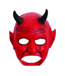 Djævlemaske i latex med sorte horn, uden mund.