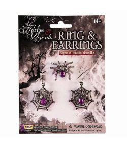 Edderkoppe smykkesæt med ring og øreringe