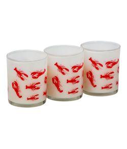 Pakke med 3 stk. glas lysestager og lys