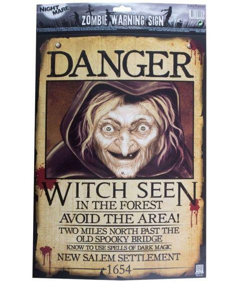 Plakat med 'Witch danger' motiv