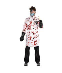 Blodigt tandlæge kostume til halloween.