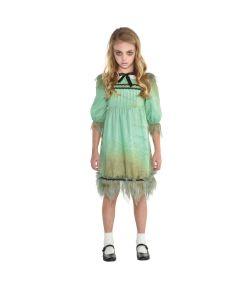 Uhyggeligt pige kostume med kjole til spøgelse pige til halloween.