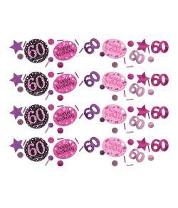 Pink Sparkling konfetti til 60 års fødselsdag