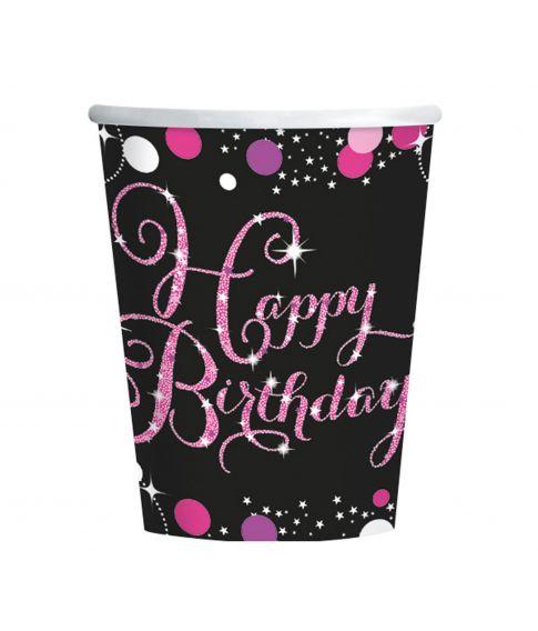 8 stk papkrus med Happy Birthday