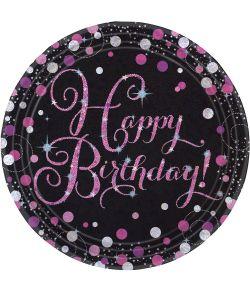 Pink Sparkling tallerkner til fødselsdag.
