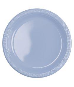 Billige pastelblå plastik tallerkner til barnedåb
