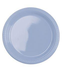 Pastelblå plastik tallerkner 17,7 cm