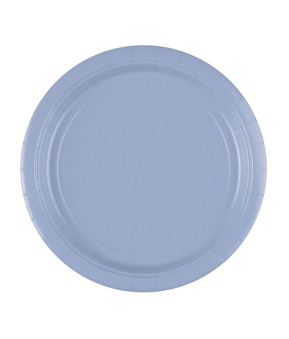 Pastelblå paptallerkner til barnedåb.