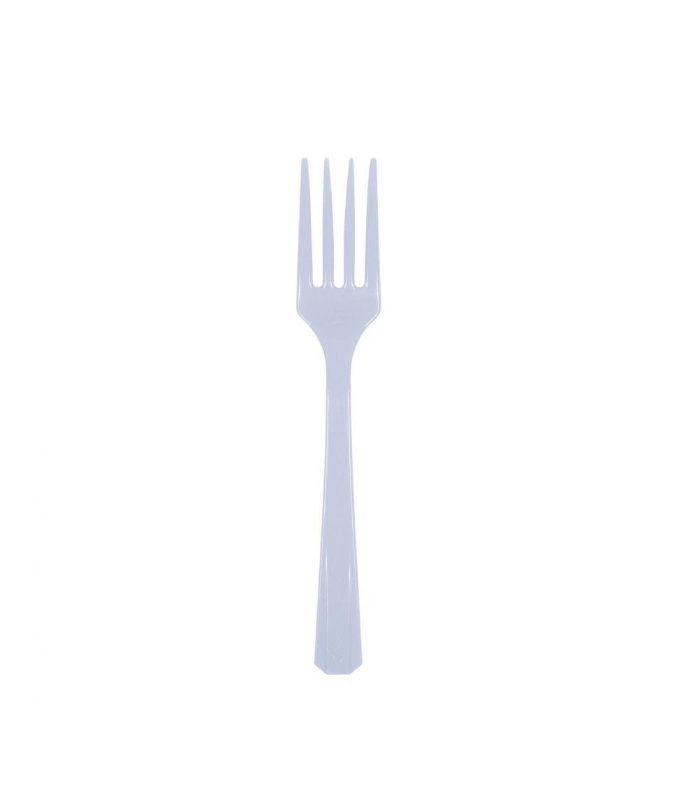 10 stk. pastelblå gafler i plastik til barnedåb