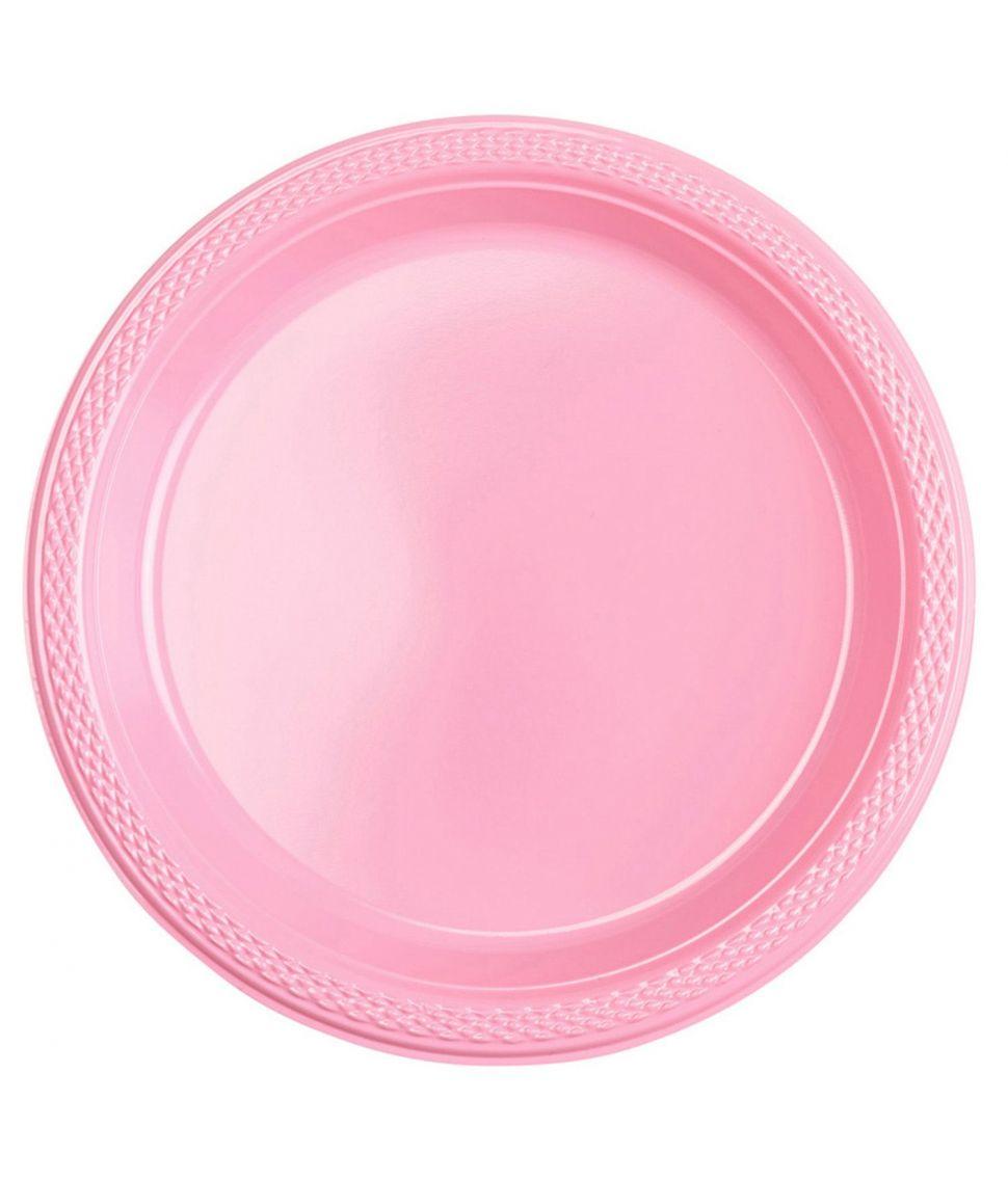 10 stk billige lyserøde plastik tallerkner til babyshower.