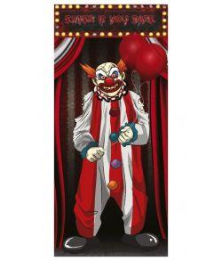 Evil Clown dør dekoration i tyndt folie.