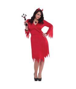 Rød djævlekjole og hårbøjle med horn