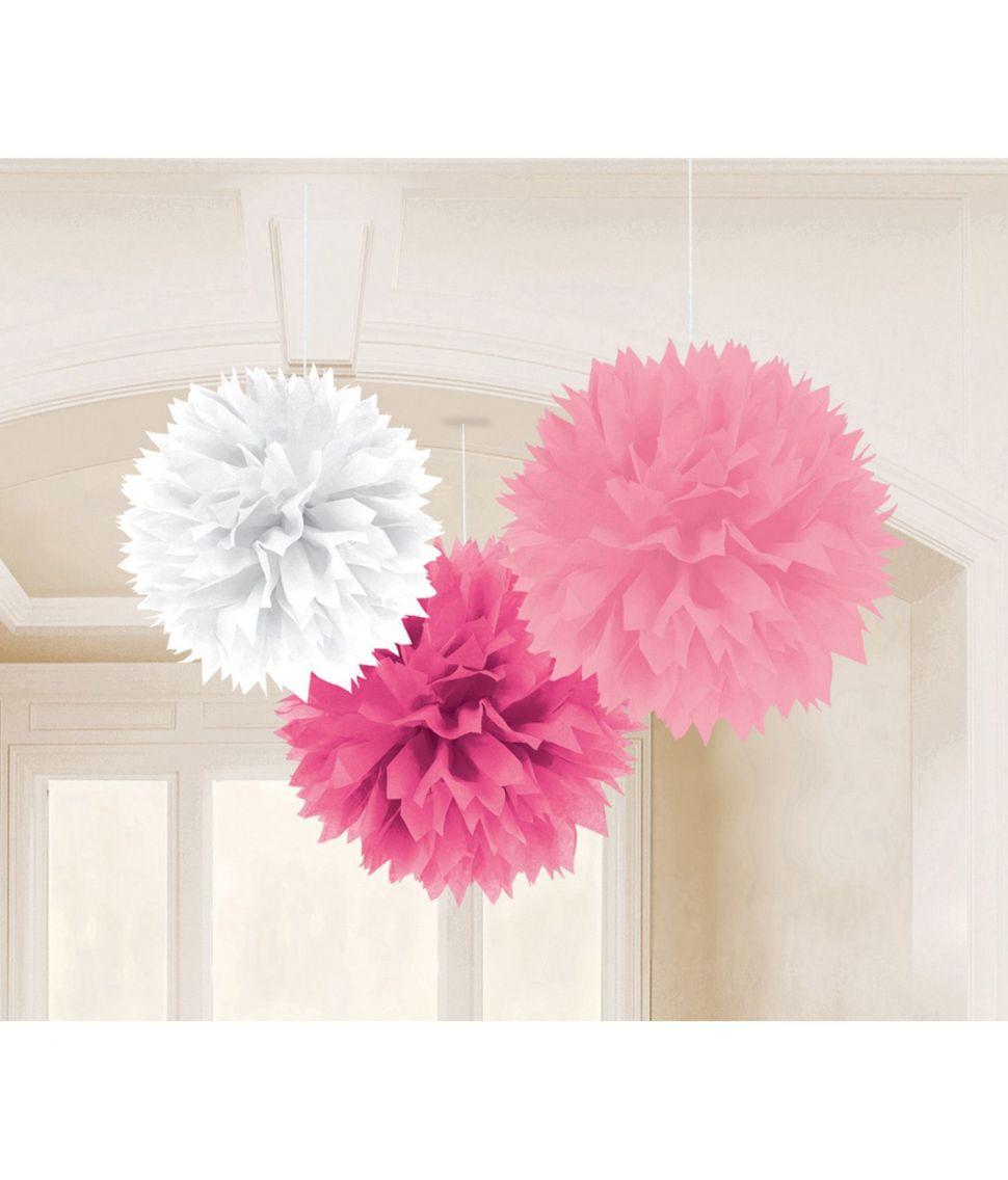 3 pomponer hvid pink hot pink