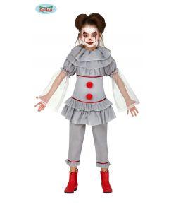 Uhyggeligt klovne kostume til piger.