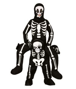 Skelet kostume hvor du ridder på ryggen af et skelet