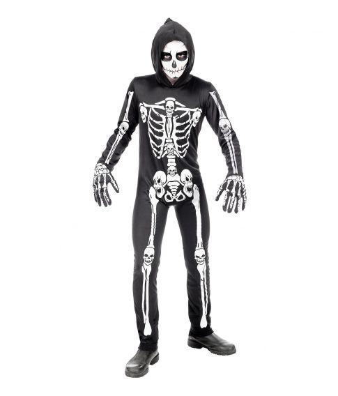 Billigt skelet kostume til drenge.