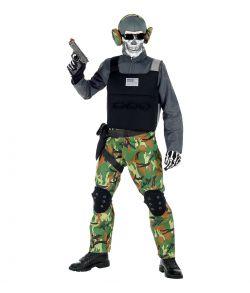 Uhyggeligt skelet soldat kostume til drenge