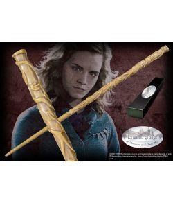 Hermione Granger tryllestav i æske med navneskilt fra The Noble Collection