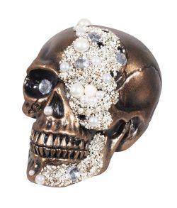 Bronze farvet kranie med perler og sten