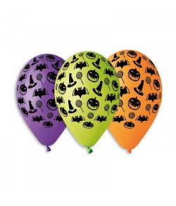 10 stk balloner med halloween motiver i blandet farver
