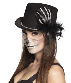 Høj hat med skelethånd.