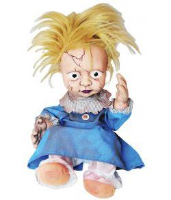 Creepy girl doll kicking